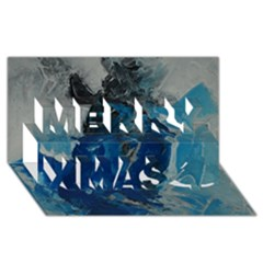Blue Abstract Merry Xmas 3d Greeting Card (8x4)