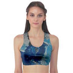 Blue Abstract Sports Bra
