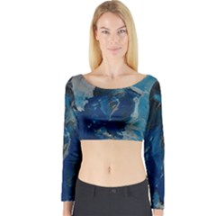 Blue Abstract Long Sleeve Crop Top
