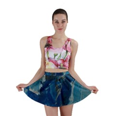 Blue Abstract Mini Skirts