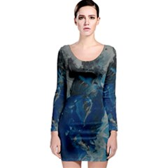 Blue Abstract Long Sleeve Bodycon Dresses
