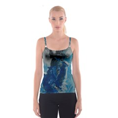 Blue Abstract Spaghetti Strap Tops