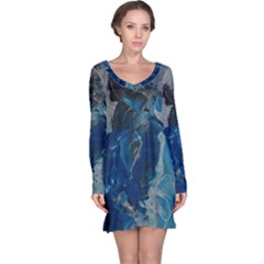 Blue Abstract Long Sleeve Nightdresses