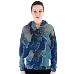 Blue Abstract Women s Zipper Hoodies