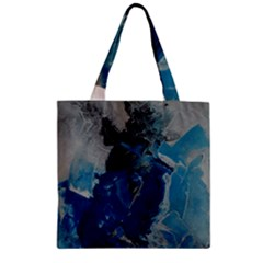 Blue Abstract Zipper Grocery Tote Bags