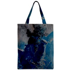 Blue Abstract Zipper Classic Tote Bags