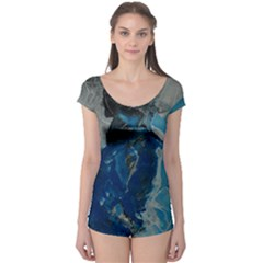 Blue Abstract Short Sleeve Leotard