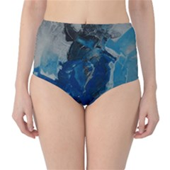 Blue Abstract High-Waist Bikini Bottoms