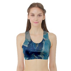 Blue Abstract Women s Sports Bra with Border