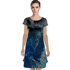 Blue Abstract Cap Sleeve Nightdresses