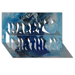 Blue Abstract No 2 Happy Birthday 3d Greeting Card (8x4)