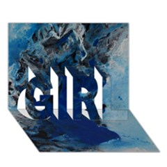Blue Abstract No 2 Girl 3d Greeting Card (7x5)