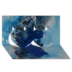 Blue Abstract No 2 Twin Hearts 3d Greeting Card (8x4)