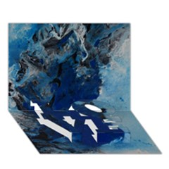 Blue Abstract No 2 Love Bottom 3d Greeting Card (7x5)