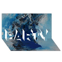 Blue Abstract No.2 PARTY 3D Greeting Card (8x4)