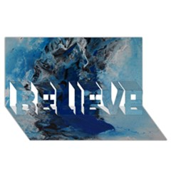 Blue Abstract No.2 BELIEVE 3D Greeting Card (8x4)