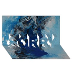 Blue Abstract No 2 Sorry 3d Greeting Card (8x4)