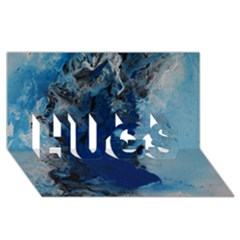 Blue Abstract No.2 HUGS 3D Greeting Card (8x4)