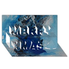 Blue Abstract No.2 Merry Xmas 3D Greeting Card (8x4)