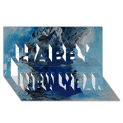 Blue Abstract No 2 Happy New Year 3d Greeting Card (8x4)
