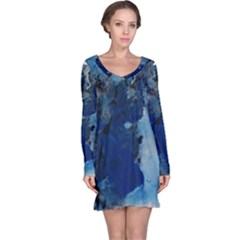 Blue Abstract No.2 Long Sleeve Nightdresses