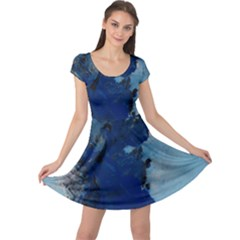 Blue Abstract No 2 Cap Sleeve Dresses