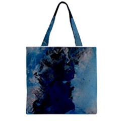 Blue Abstract No 2 Zipper Grocery Tote Bags