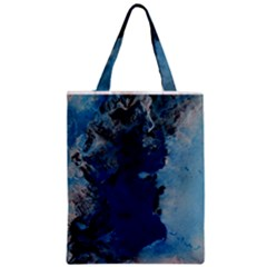 Blue Abstract No 2 Zipper Classic Tote Bags