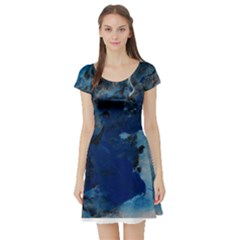 Blue Abstract No.2 Short Sleeve Skater Dresses