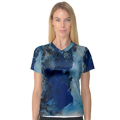 Blue Abstract No 2 Women s V Neck Sport Mesh Tee