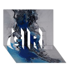 Blue Abstract No 3 Girl 3d Greeting Card (7x5)