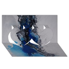 Blue Abstract No 3 Twin Hearts 3d Greeting Card (8x4)