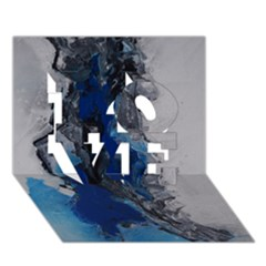 Blue Abstract No.3 LOVE 3D Greeting Card (7x5)