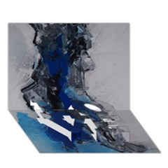 Blue Abstract No.3 LOVE Bottom 3D Greeting Card (7x5)