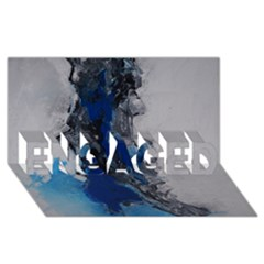 Blue Abstract No.3 ENGAGED 3D Greeting Card (8x4)
