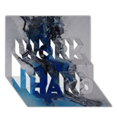 Blue Abstract No.3 WORK HARD 3D Greeting Card (7x5)