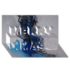Blue Abstract No.3 Merry Xmas 3D Greeting Card (8x4)