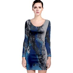Blue Abstract No.3 Long Sleeve Bodycon Dresses