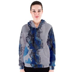 Blue Abstract No 3 Women s Zipper Hoodies