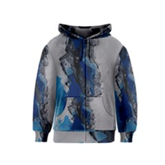 Blue Abstract No.3 Kids Zipper Hoodies