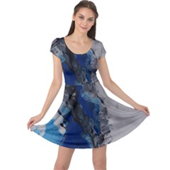 Blue Abstract No.3 Cap Sleeve Dresses