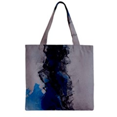 Blue Abstract No.3 Zipper Grocery Tote Bags