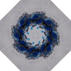Blue Abstract No.4 Folding Umbrellas