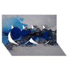 Blue Abstract No.4 Twin Hearts 3D Greeting Card (8x4)