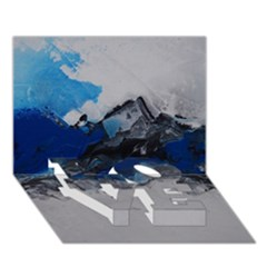 Blue Abstract No.4 LOVE Bottom 3D Greeting Card (7x5)