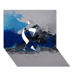 Blue Abstract No 4 Ribbon 3d Greeting Card (7x5)