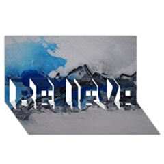 Blue Abstract No.4 BELIEVE 3D Greeting Card (8x4)