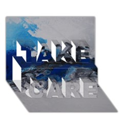 Blue Abstract No 4 Take Care 3d Greeting Card (7x5)