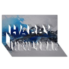 Blue Abstract No.4 Happy New Year 3D Greeting Card (8x4)