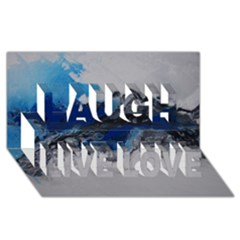 Blue Abstract No.4 Laugh Live Love 3D Greeting Card (8x4)